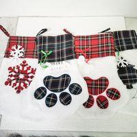 Bas de Noël de grande qualité Bas d'animal de compagnie Plaid Paw Paw Paw Santa Socks Sacs Sacs Sacs Festival Festival Cadeau Sac Decor 08