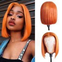 Synthetische Perücken 180% Dichte Gerade kurze Bob Ingwer Orange Spitze Frontperücke für schwarze Frauen mit Babyhair Vorplucker Verstellbarer Riemen