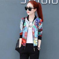 Women's Jackets Plus Size M-5XL Jacket Women 2021 Fashion Print Basic Thin Bomber Female Baseball Sunscreen Clothes W200
