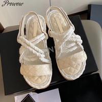 Sandálias Proswow Mulheres Moda Sapatos de Verão Mulher Plana Corda Lace Up Gladiador Beach Chaussures Femme