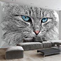 Wallpapers Custom Mural Wallpaper Modern Abstract 3D Stereo Geometry Cat Animal Wall Painting Living Room TV Sofa Bedroom Home Decor Fresco