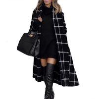 가을과 겨울 모직 코트 여자 격자 긴 소매 옷깃 얇은 붕대 롱 코트 여성 패션 여성 블랙 코트