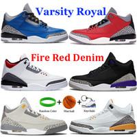 Homens Hot Sapatos de Basquete III Tribunal Preto Cat Roxo Varsity Royal Cimento Cimento Fogo Vermelho Denim Cinza Cinza Correndo Sneaker Treinadores Esportivos