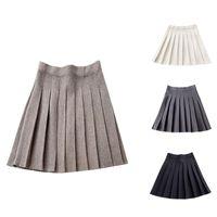 Skirts Autumn Winter A-Line Thick Short Skirt Women Good Quality Cute Pleated Mini Female Elegant Knit