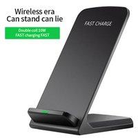 Portátil 5w / 10w rápido carregador sem fio suporte de telefone celular usb qi vertical bloco de carga indução dupla bobina