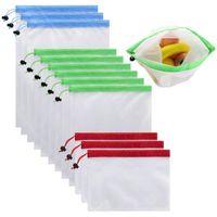 12pcs Réutilisable Maille Produits Sacs Sac à motifs de cordon lavables Sac à fourre-cordon de fruits Sac de rangement d'épicerie