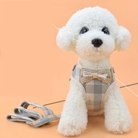 Dog Collars & Leashes Pet Chest Straps Breathable Mesh Korean Vest Style Cotton Material Bow Accessories Puppy Cat Leash Supplies