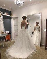 2021 линия V-образным вырезом свадебное платье кружевное аппликация Robe de Mariee Plus Размер Bridal GOWM формальные платья принцесса с бисером
