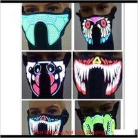 Designer Mask Led Music Face Masks With Sound Activated Masks Cold Light Helmet Fire Party Dancing Riding Skating Protective Mask Grko 1Slnw