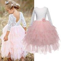 Spitze Mädchen Lange Kleid Kinder Pageant Kleidung Kinder Tutu Layered Kleid Mädchen Unregelmäßige Kugelkleider für 3 4 5 6 7 8T Baby Kleidung 210317