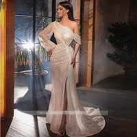 Sparkling Sequin Evening Dresses Long Sleeve Mermaid One Shoulder Sexy side Split Champagne Prom Dress 2021 Formal Party Gowns