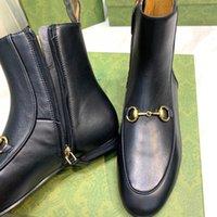 2021 Martin Desert Women Half Boot Designer Boots Flamingos luxury 100% leather red bottom Black Color Ankle Highet chunky heels antiskid