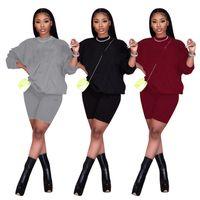 Frauen Hoodies 2 Stück Sets Casual Trainingsanzug Langarm Hemden + Mini Shorts Sport Jogger Anzug Sommer Kleidung Sportswear Brief Outfits 4461