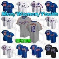 Mets Jersey 48 Jacob Degrad 20 Pete Alonso 12 Francisco Lindor 30 Michael Conforto New 31 Mike Piazza 18 Darryl Strawberry York Baseball