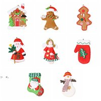Lovely Christmas Decoration 9cm Soft Clay Christmas Tree Pendant Lovely Santa Snowman Holiday Decoration Props Ornaments RRA9331