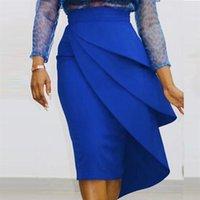 Женщины высокая талия карандаш юбка BodyCon Rucher Party Sexy праздновать стильный элегантный офис леди скромная стройная африканская мода Falads 210306