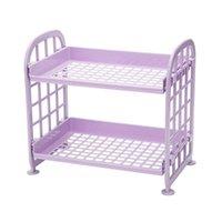 Cleaning Cloths Storage Shelves,Plastic Small Shelves - 2 Tier Shelf Shelving,Kitchen Bathroom Organizer(Purple)