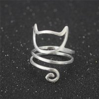 Cluster Rings 925 Sterling Silver Winding Cat Open For Women Handmade Original Fashion Girl Prevent Allergy Sterling-silver-jewelry