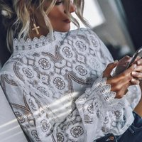 Women White Lace Sexy Blouse Shirts Ladies Hollow Out Long S...
