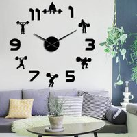 WeightLifting Fitness DIY Large Clock Powerlifting BodyBulding FrameLess Giant Watch 3D Mirror Effect Wall Sticker