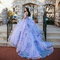 Vestido Sequins Quinceanera Dresses 라벤더 라일락 오프 숄더 레이스 Applique 달콤한 16 코르 셋 드레스 2021 Vestidos de XV Años 공 파로 댄스 가운
