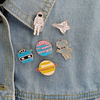 Astronaut Robot Planet Plane Brooches Set 6pcs Gold Plated Enamel Paint Badges for Girls Alloy Lapel Pin Denim Shirt Jewelry Gift Bag Hat Accessories Collar Pins