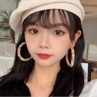 Hoop & Huggie Bohemian Big Earring For Women Fashion Colorful Beaded Cross Female Boho Round Earrings Jewelry Accessories Brincos Bijoux