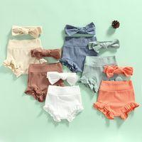 Verano niños niños pantalones cortos de punto color sólido niñas pantalones cortos algodón volantes pantalones cortos moda recién nacido florers diadema