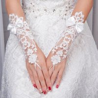 Bridal Gloves Wedding Fingerless Short Glove With Lace Appliqued Bow Pearl Decoration Elegant Accessories
