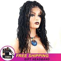 Synthetic Wigs M&H Senegal Twist Crochet Braids Hair 1B Color Lace Front Braiding For Black Women Free Ship