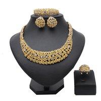 Earrings & Necklace Longqu Dubai Gold Designer Jewelry Set Wholesale Nigerian Wedding Woman Accessories 2021 Design Bridal