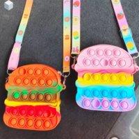 Fidget Toys Sensory hamburger color change shoulder bag Push Bubble Tie dye Anti Stress Educational Children Adults Decompression Toy Surprise wholesale fez