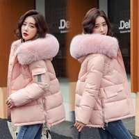 Water and oil resistant women's short winter loose bright down padded jacket 211019