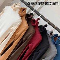 T-shirt da donna 2021 Maglione di seta Mulberry Lady Autunno Inverno Plus Top manica lunga spessa Top per le donne Abbigliamento Donna Tshirts Fashion Top Egirl