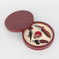 Mahogany red wine corkscrew set alloy 4 piece sets round box wine opener red wine screwdriver custom