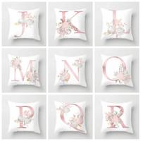 Moda 26 İngilizce Mektubu Yastık Kapakları Ev Dekor Yastık Kılıfı Desen Kanepe Yastıkları Yatak Setleri Yumuşak Çiçek WLL46