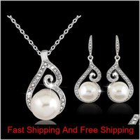 2016 Newest Women Crystal Pearl Pendant Necklace Earring Jewelry Set 925 Silver Chain Necklace Jewelry 12Pcs Sale Gdd2G 4Jsyn