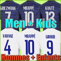 Maillots de Futbol 2021 Tayland Futbol Forması Kalite Benzema 20 21 MBappe Griezmann Pogba Maillot Ayak Varane Coman Pavard Kiti Üst Gömlek Hommes Enfants Erkekler + Çocuklar