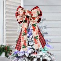 Décoration de Noël treillis imitation ruban ruban archet arc de Noël top décoration décoration ornements 2022 Navidad Nouvel An Cadeau P0828