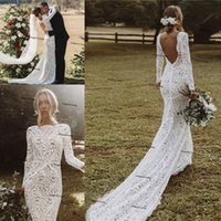 Backless Bohemian Mermaid Wedding Dresses 2021 Full Lace Long Sleeve Vestido De Noiva Sweep Train Country Beach Bridal Dress