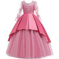 Девочка платья блестки с длинным рукавом вечеринка свадебное платье для девочек детей кружевной цветок тюль день рождения мяч платья принцесса костюм 4-14Y