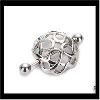 Les boucliers de mamelon creux simples couvrent les anneaux Ball Balbells 316L chirurgical en acier inoxydable piercing clips clips en vente VGUWV DA7CS
