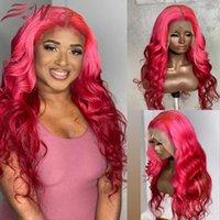 13x6 613 Rosa Highligh Frontal Highligh Human Hair Wig Remy 180 Densidad Brasileño Bady Wave WIG Despliewless Pelucas para mujeres con cabello bebé