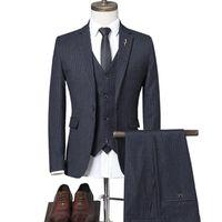 Men's Suits & Blazers Business Casual Suit Coat Vest Pants 2021 Fashion Boutique Wedding Dress Jacket Trousers Waistcoat 3 Pcs Set
