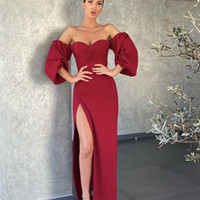 Vestidos de Noite de Borgonha 2021 com Dubai Oriente Médio Alto Split Split Vestidos Formal Prom Vestido Plus Size Vestidos de Festa Meia Manga