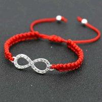 Mulheres prata cor strass digital 8 infinito charme trança braceletes homens pulseira de fio vermelho para menino meninas crianças presentes 'presente x0706