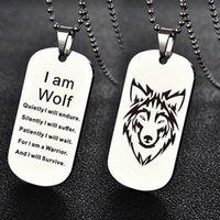 قلادة القلائد أزياء الرجال المرأة الفولاذ المقاوم للصدأ الذئب رئيس الكلب علامة قلادة هدية