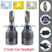 Car Headlights Super Bright Dual Color H4 H7 H11 LED Headlight Kit 880 9005 9006 COB Chips Replacement 3000K 6000K H1 H3 9012 Bulbs