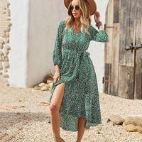 Casual Dresses Women's Autumn Dresse Fashion V Neck Print Button Elastic High Waist Lace Up Ladies Long Sleeve Chiffon 2021