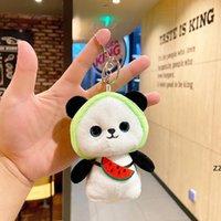 12 cm Panda Muñeca Coche Kawaii Llavero Bolsa creativa Colgante Llavero de peluche lindo en mochila Mini conejo Juguetes rellenos HWE10163
